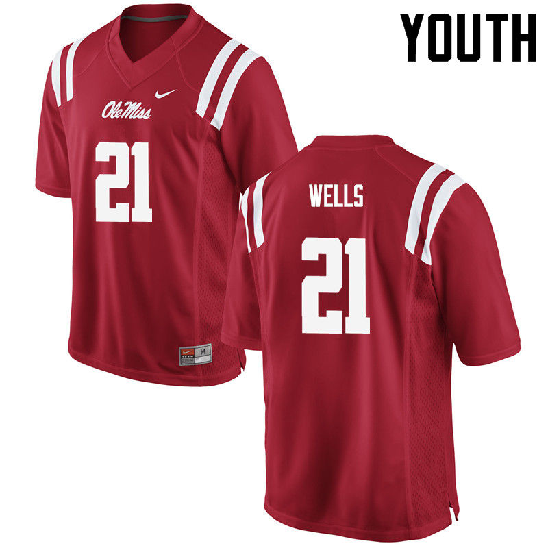 Youth Ole Miss Rebels #21 KeShun Wells College Football Jerseys-Red