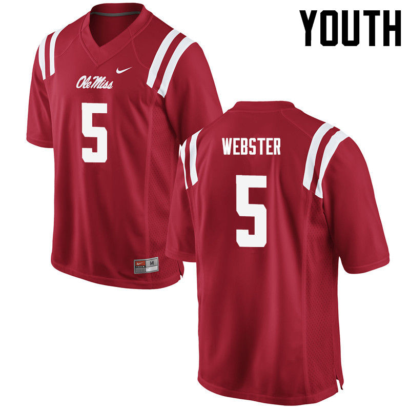 Youth Ole Miss Rebels #5 Ken Webster College Football Jerseys-Red