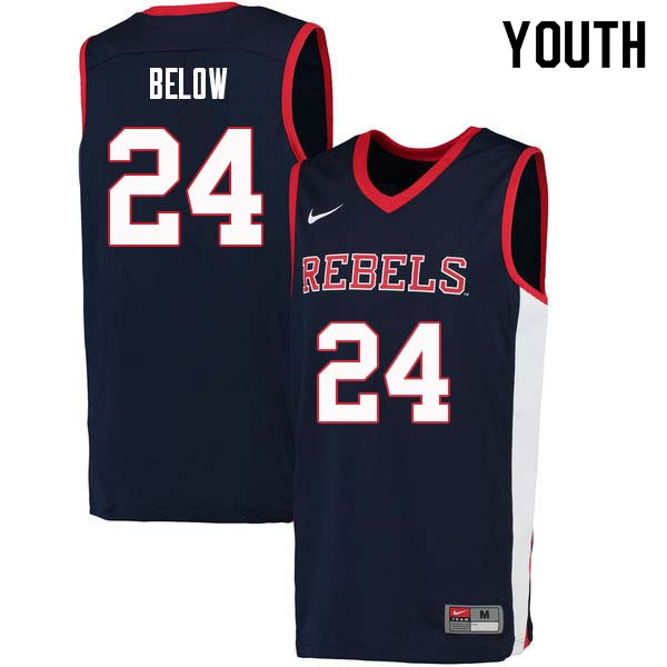 Youth #24 Lane Below Ole Miss Rebels College Basketball Jerseys Sale-Navy