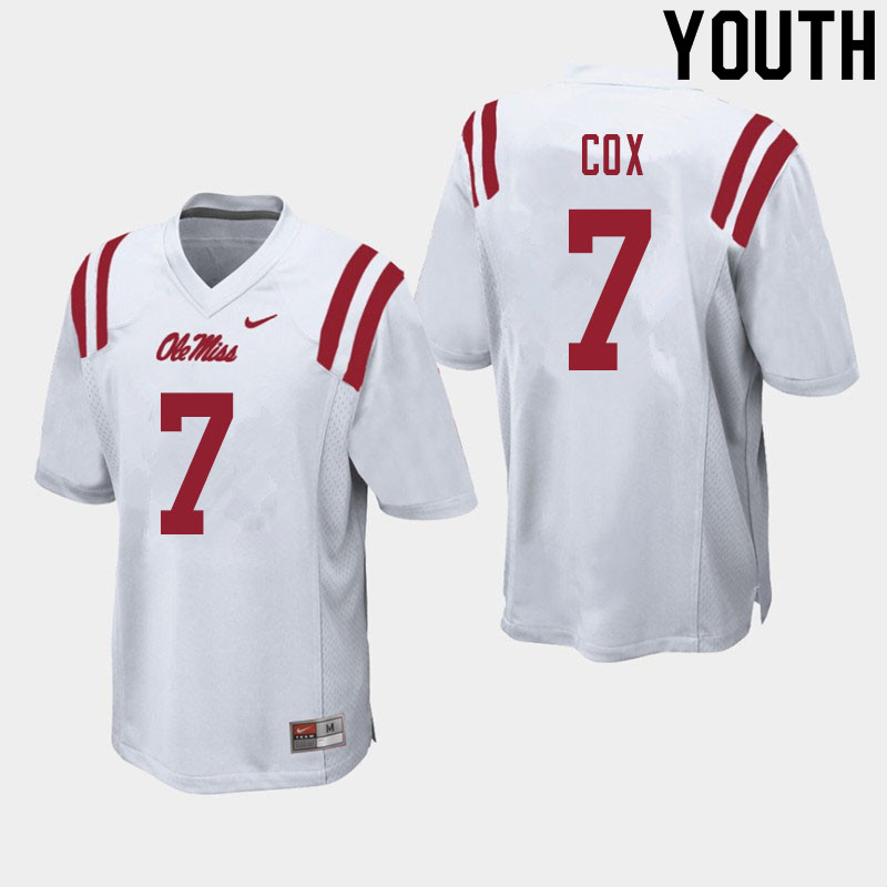 Youth #7 LeDarrius Cox Ole Miss Rebels College Football Jerseys Sale-White