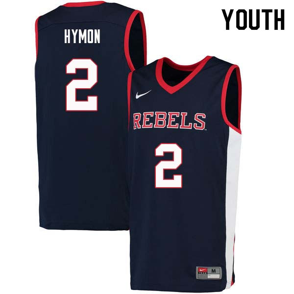Youth #2 Marcanvis Hymon Ole Miss Rebels College Basketball Jerseys Sale-Navy