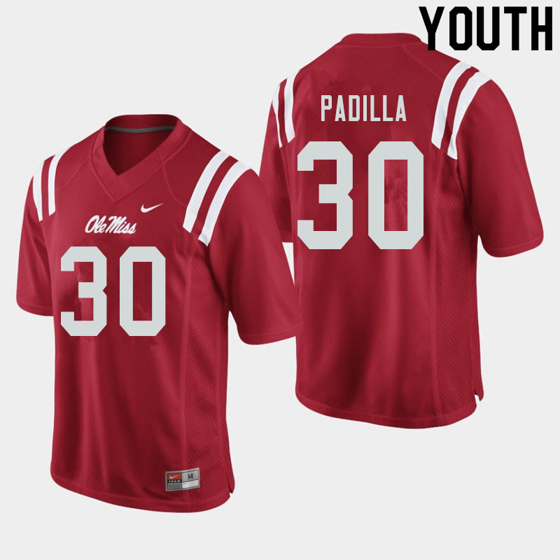 Youth #30 Mario Padilla Ole Miss Rebels College Football Jerseys Sale-Red