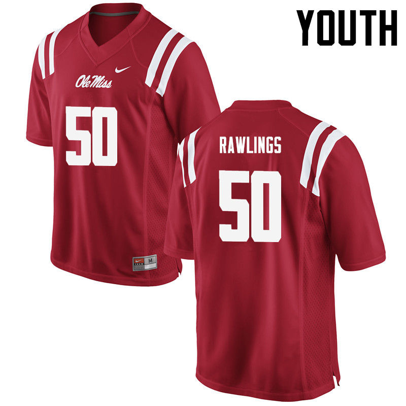 Youth Ole Miss Rebels #50 Sean Rawlings College Football Jerseys-Red