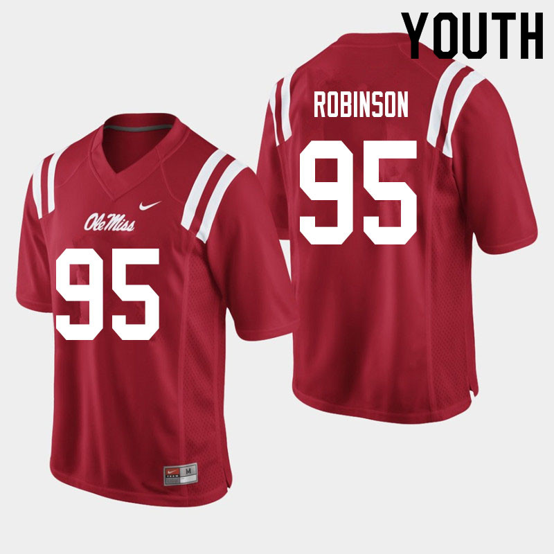 Youth #95 Tavius Robinson Ole Miss Rebels College Football Jerseys Sale-Red