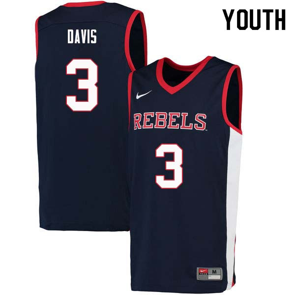 Youth #3 Terence Davis Ole Miss Rebels College Basketball Jerseys Sale-Navy