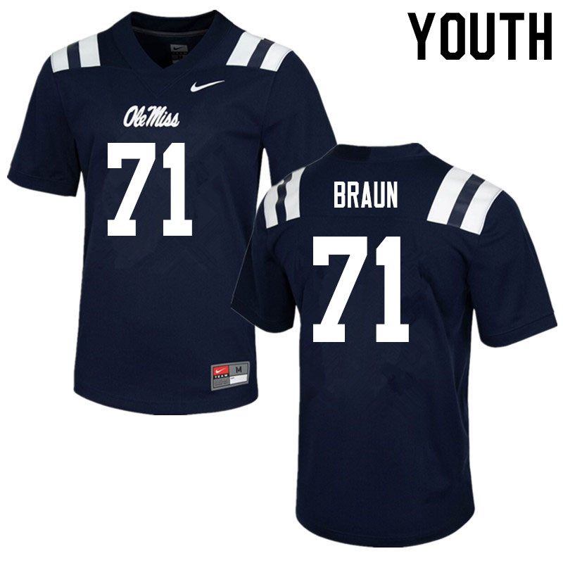 Youth #71 Tobias Braun Ole Miss Rebels College Football Jerseys Sale-Navy