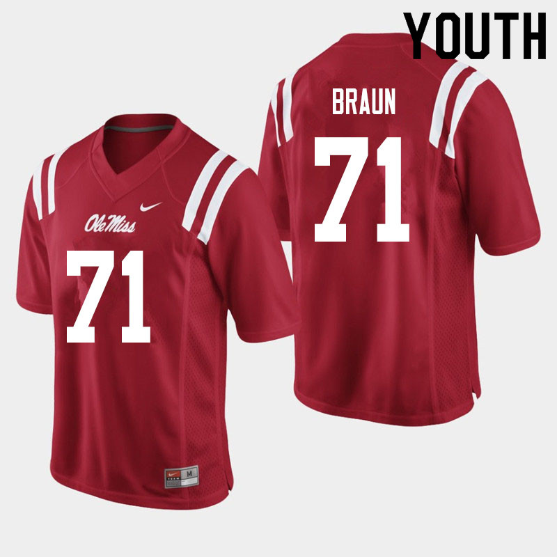 Youth #71 Tobias Braun Ole Miss Rebels College Football Jerseys Sale-Red