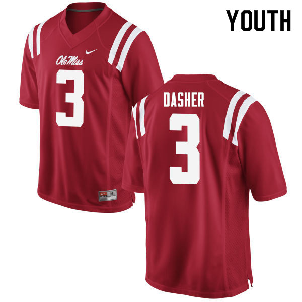 Youth #3 Vernon Dasher Ole Miss Rebels College Football Jerseys Sale-Red