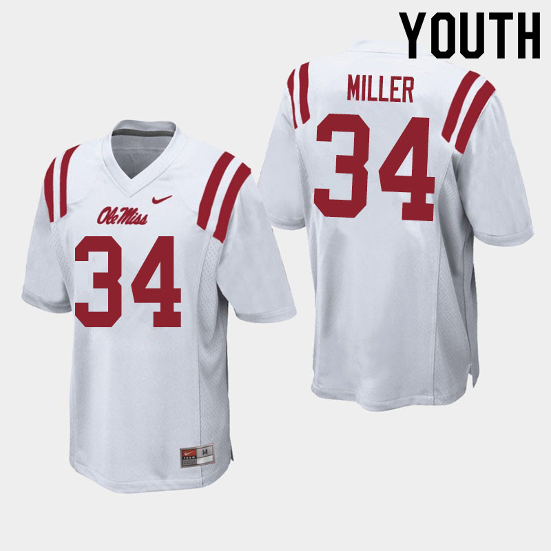 Youth #34 Zavier Miller Ole Miss Rebels College Football Jerseys Sale-White