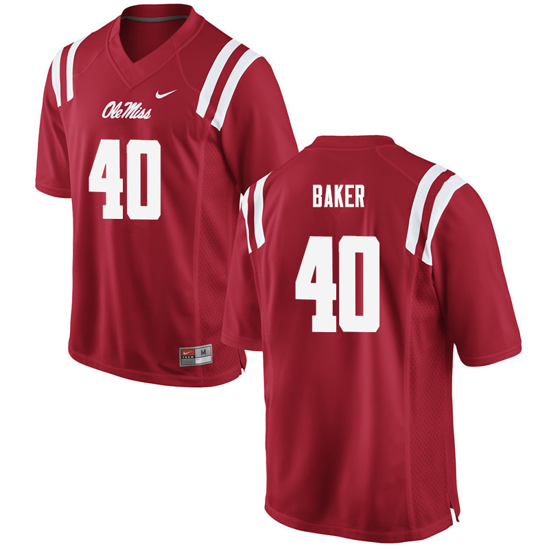 Men Ole Miss Rebels #40 Zikerrion Baker College Football Jerseys-Red